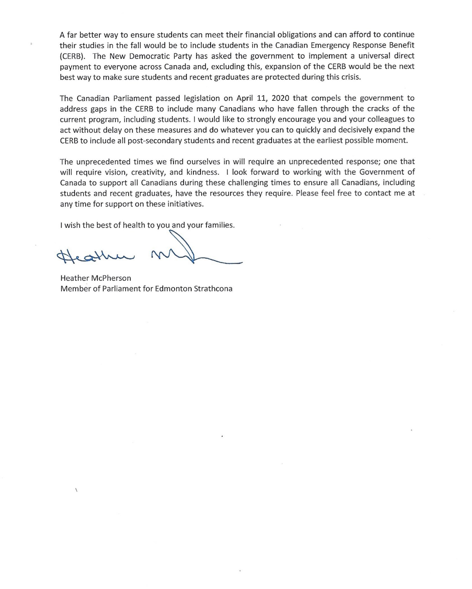 Letter to Ministers Chagger & Qualtrough Page 2