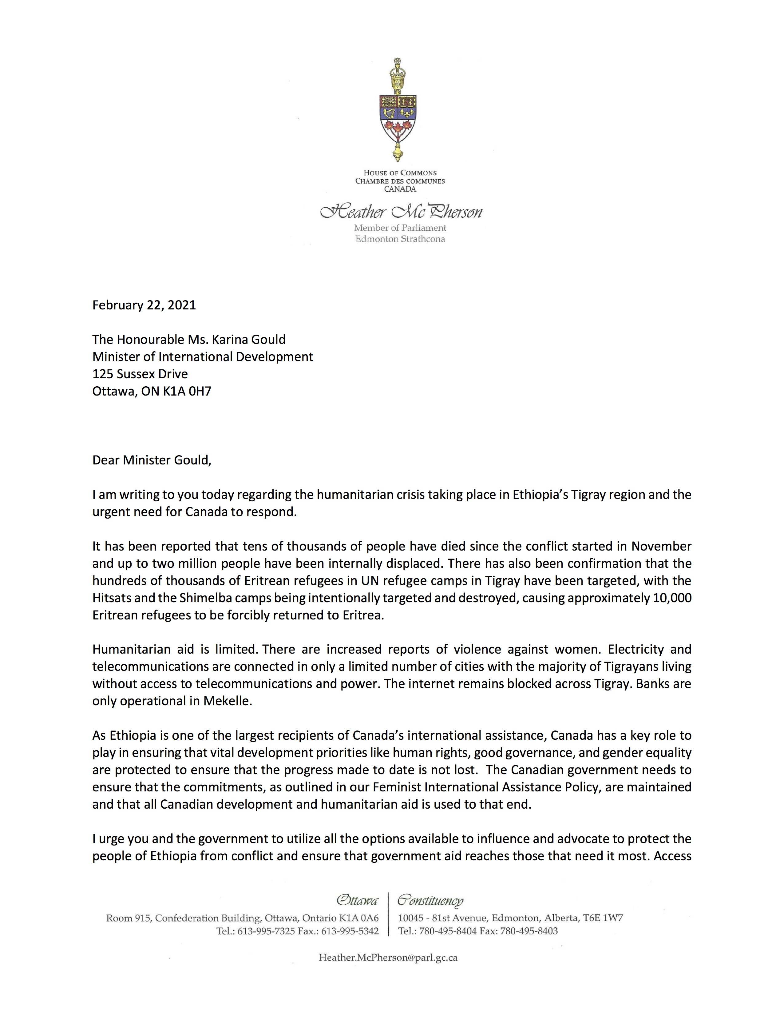 Letter to Minister Gould Page 1