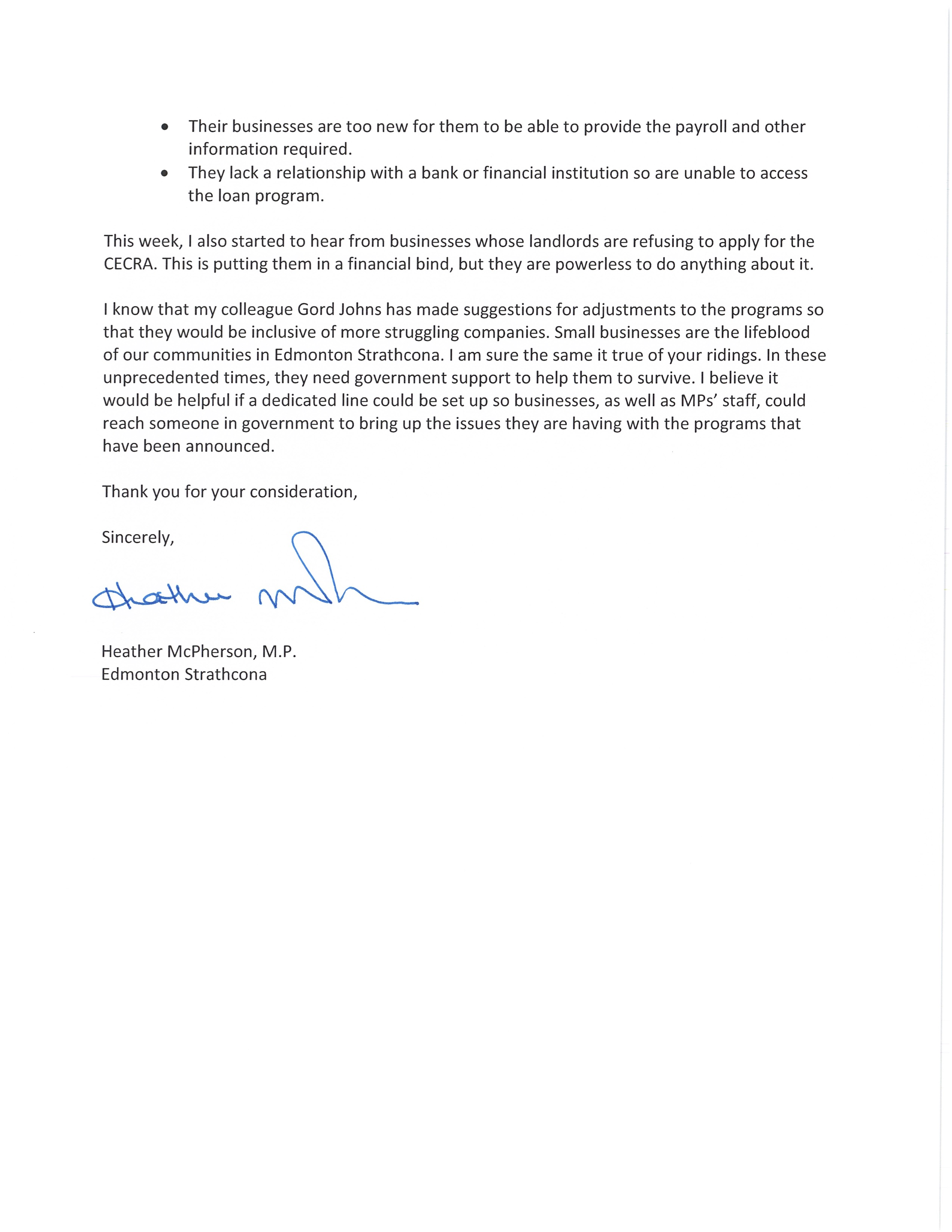 Letter to Ministers Morneau & Ng Page 2