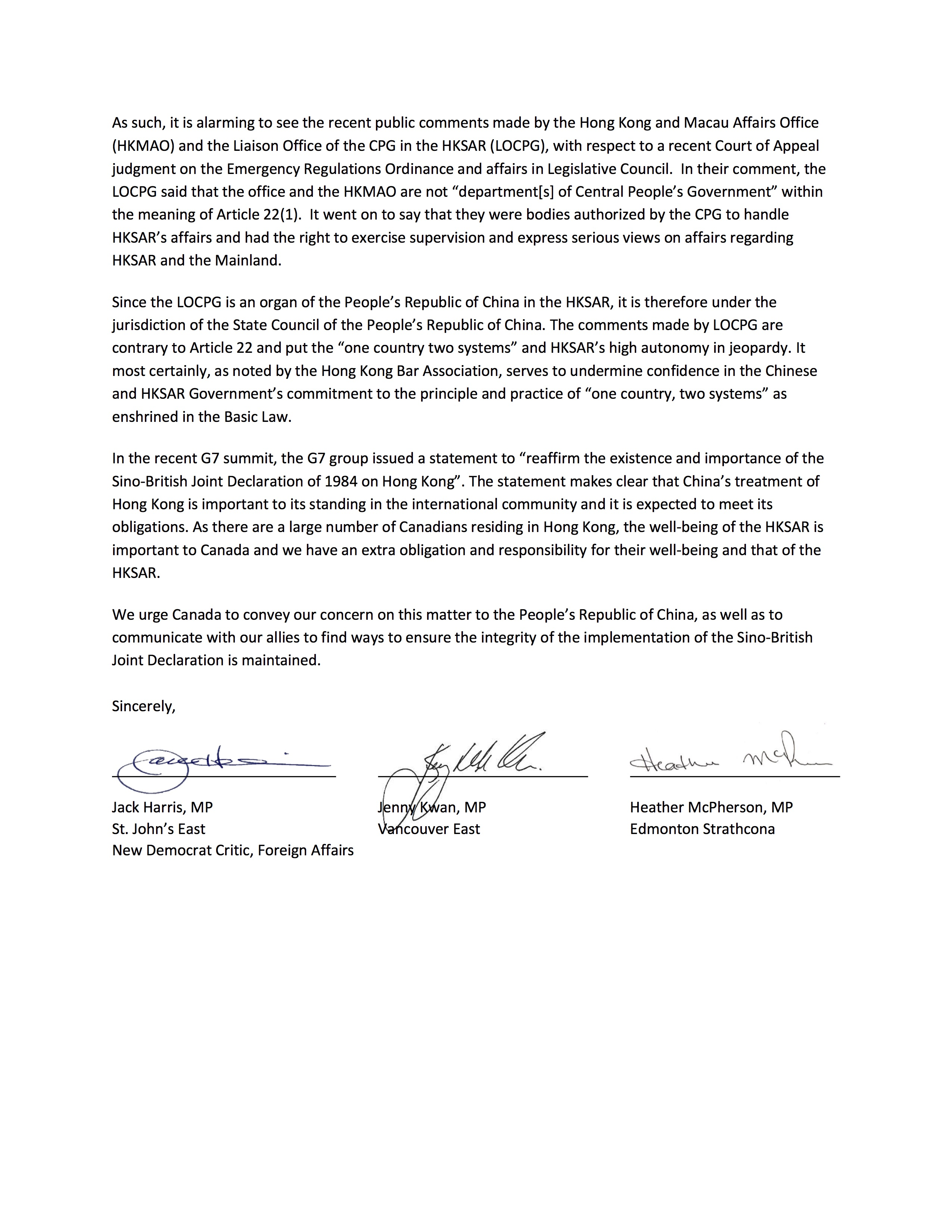 Letter to Minister Champagne Page 2