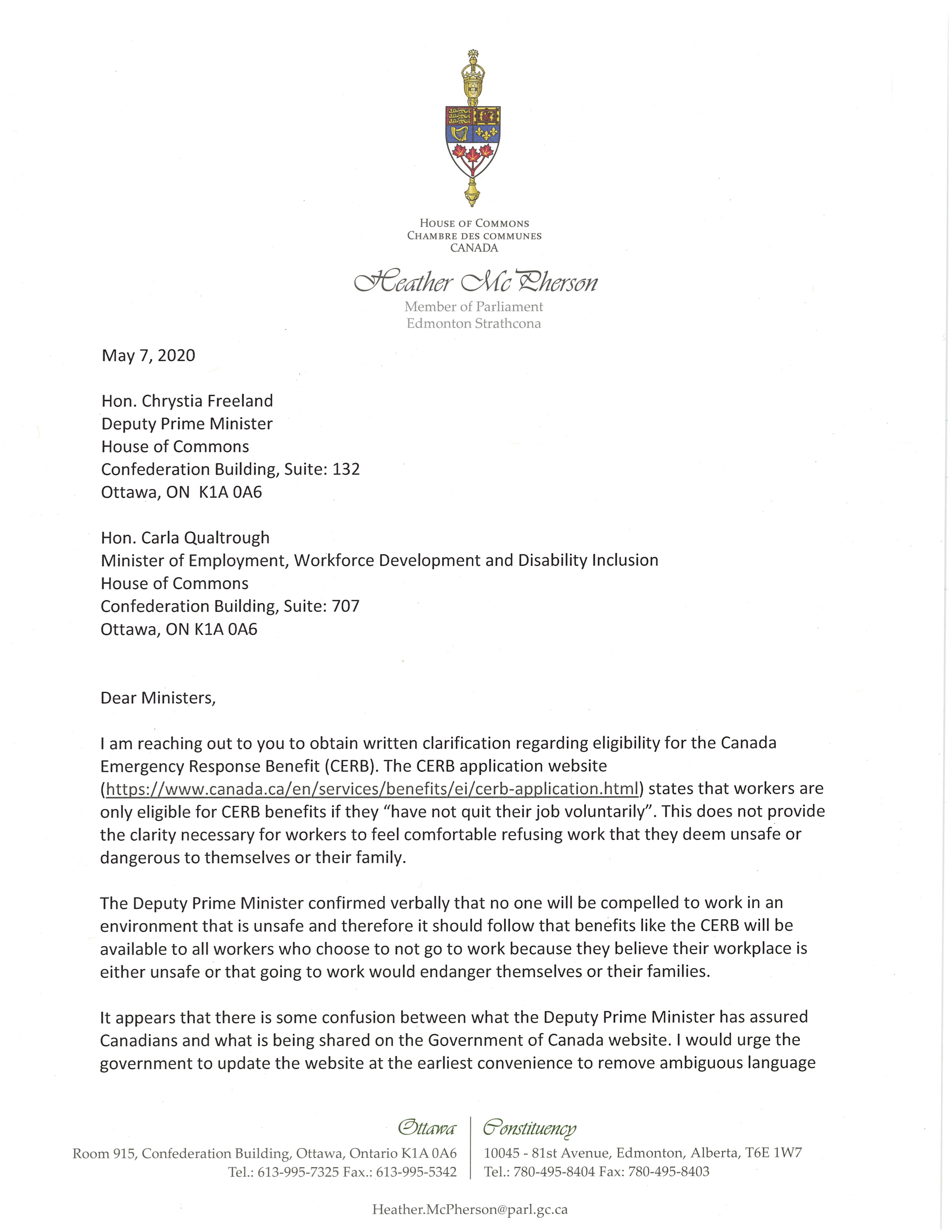 Letter to Ministers Freeland and Qualtrough Page 1