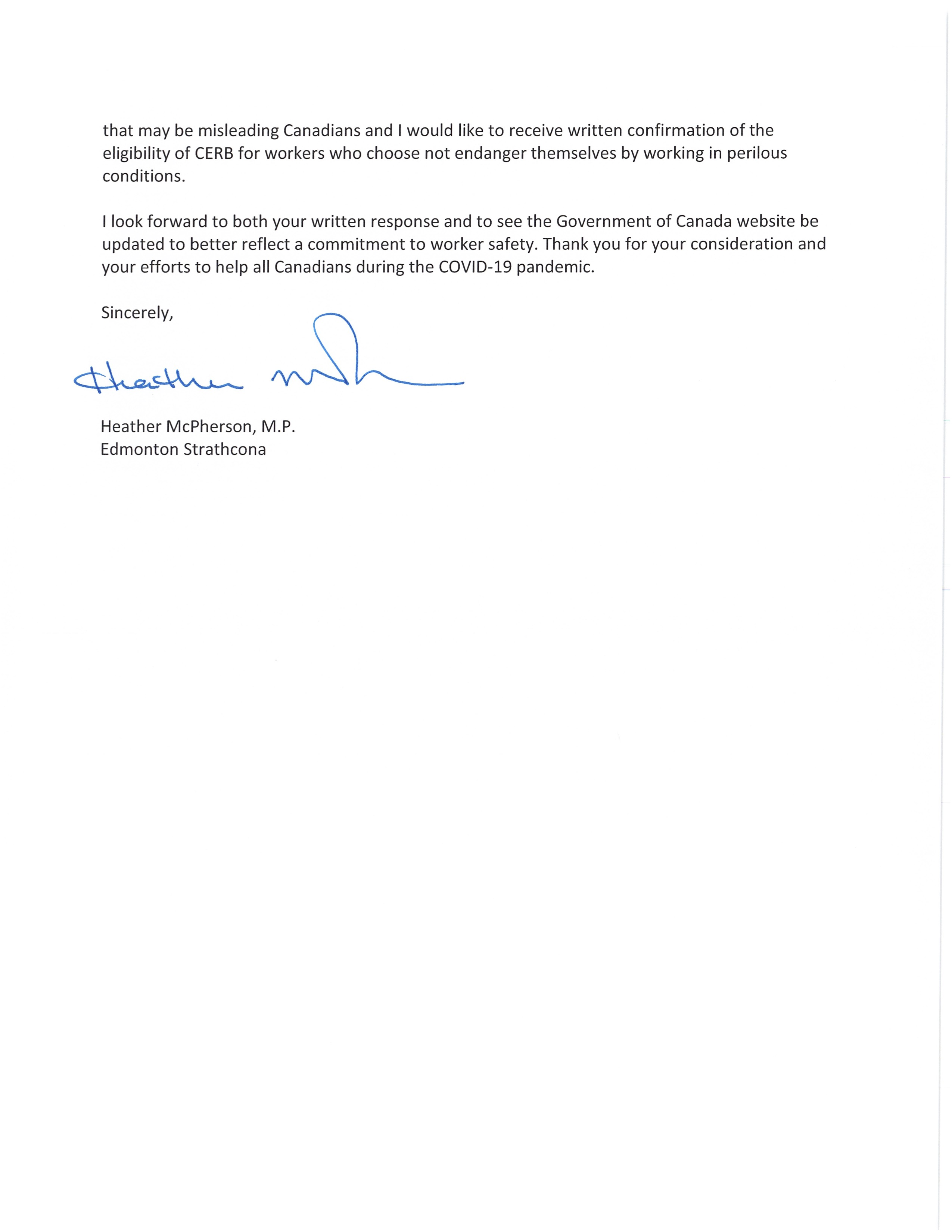 Letter to Ministers Freeland and Qualtrough Page 2