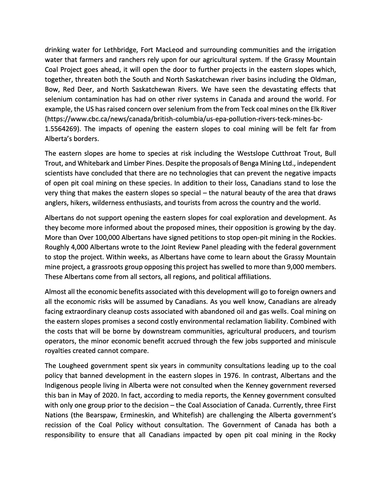 Letter to Minister Wilkinson, Page 2